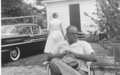Daddy Forbes and Hat in Back Yard – July, 1959